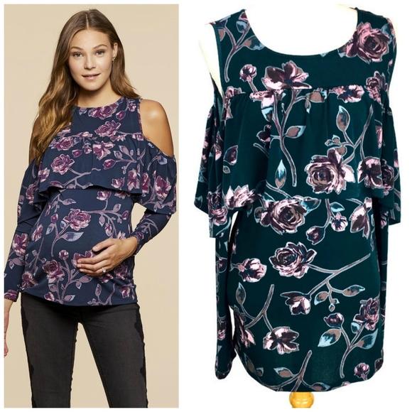 e129a3f903 Jessica Simpson Maternity Cold Shoulder Ruffle Top
